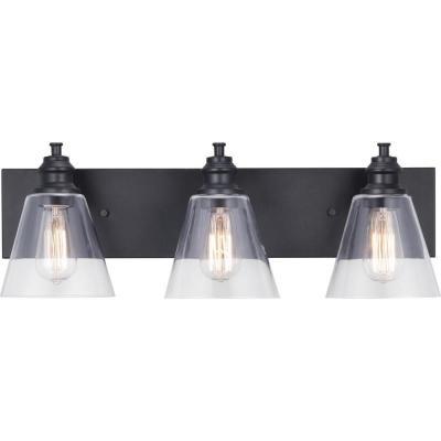 Elsey Manor 24 In 3 Light Matte Black Vanity Light With Clear Glass Shades In 2020 Black Vanity Light Black Bathroom Light Fixtures Vanity Lighting