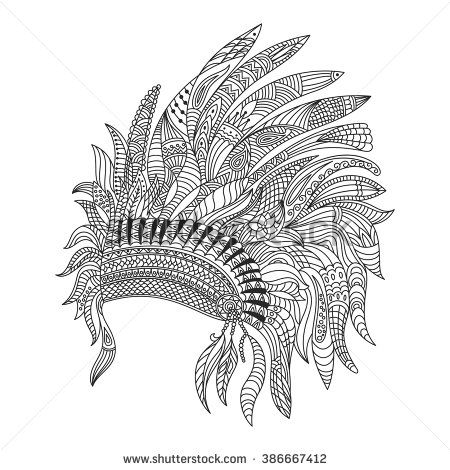 Vector Monochrome Hand Drawn Zentagle Ilration Of Indian War