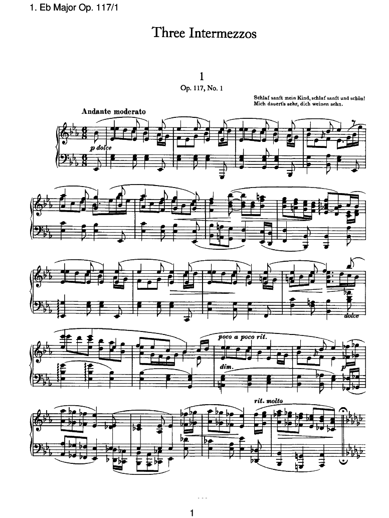 3 Intermezzi, Op 117 (Brahms, Johannes) - IMSLP/Petrucci Music