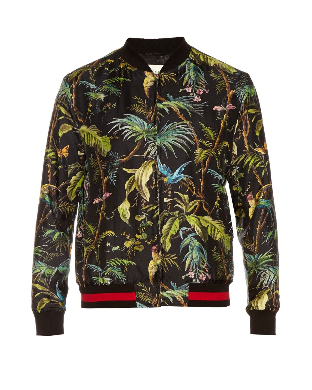 7cd67967617 Gucci | Green Tropical-print Silk Bomber Jacket for Men | Lyst | Men ...