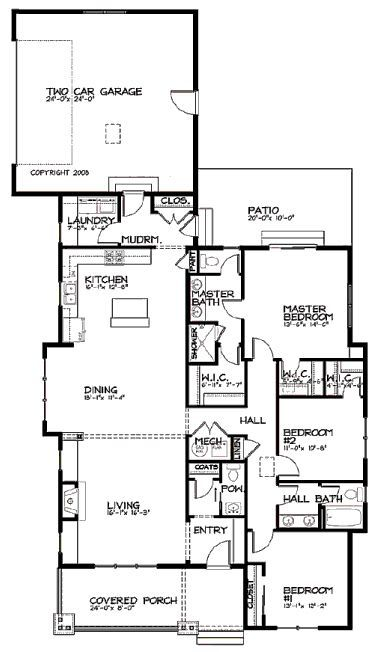 Bungalow Style House Plan 3 Beds 2 5 Baths 1887 Sq Ft Plan 434 6 Narrow Lot House Plans Modern Style House Plans Bungalow Style House Plans