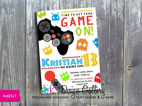 Video Game Birthday Invitation Gaming Party Invitation Video