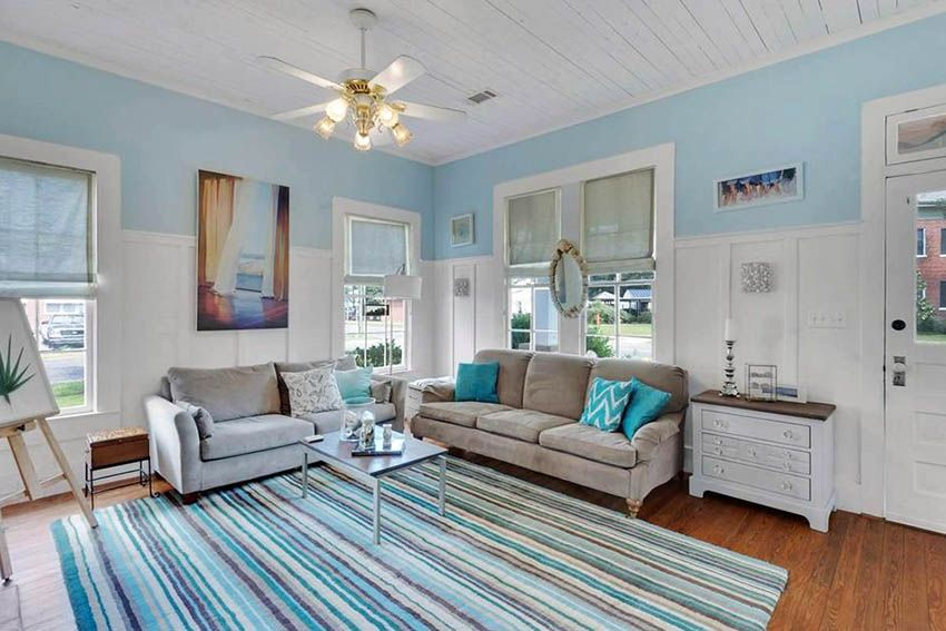 Beach Themed Living Room On A Budget With Images Coastal