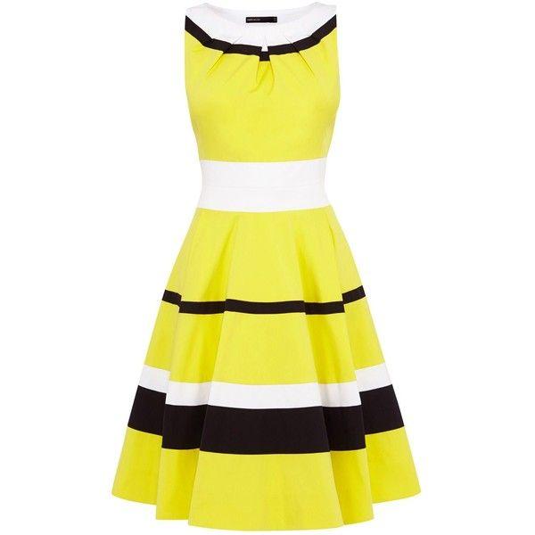 Karen Millen 50`s style full skirted dress ($310) ❤ liked on Polyvore
