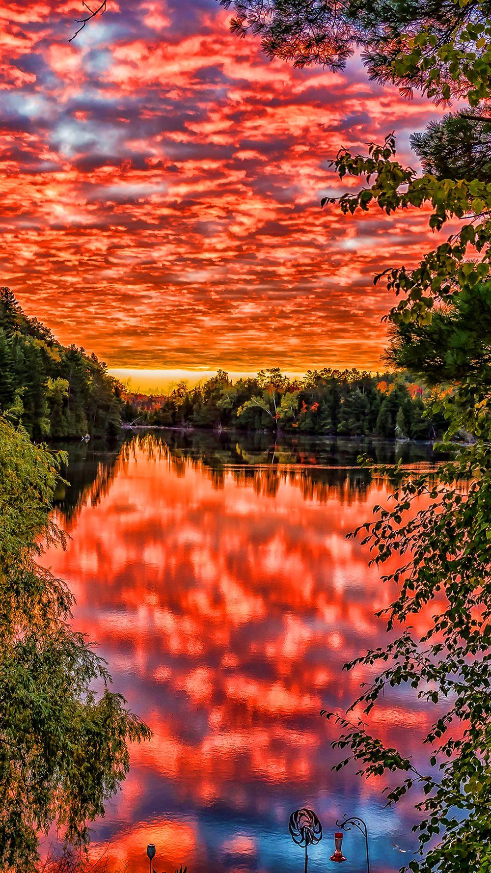 High Resolution Orange Sky Sunset Lake Green Trees