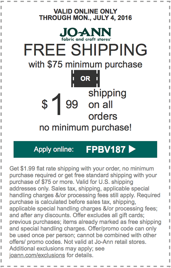 Jo-Ann Fabric Coupons – Get $1.99 #shipping or #freeshipping on ...
