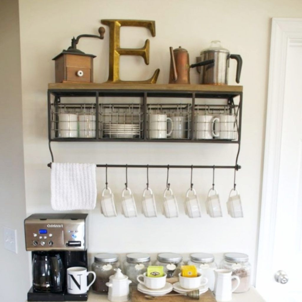 Home Coffee Bars And Stations Ideas Bar Mug Rack Shelf With Hooks Station