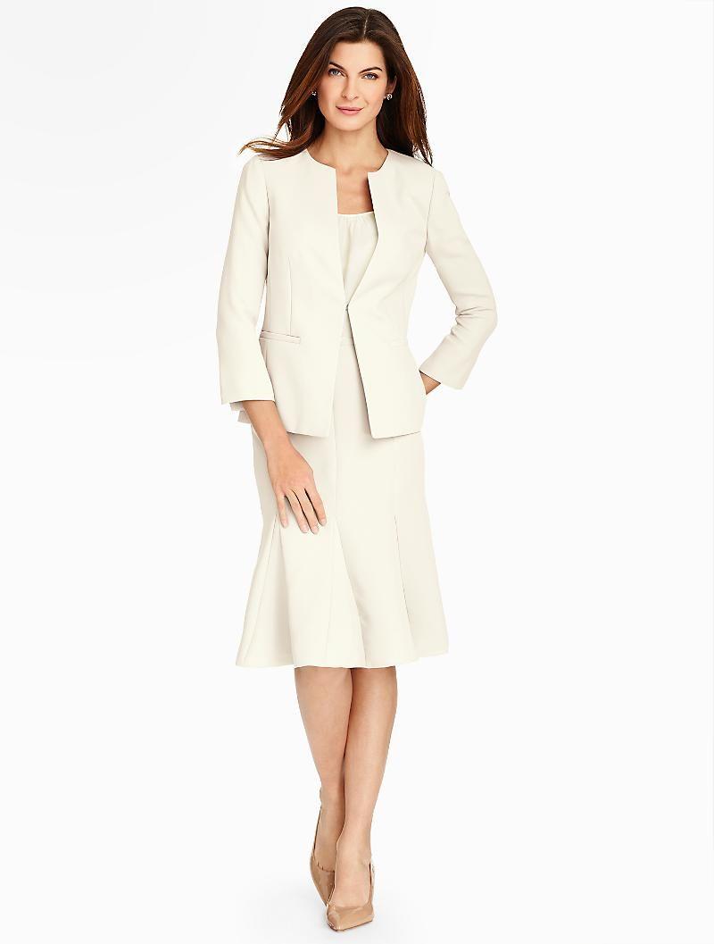 Plus size jacket dress for wedding  Refined Crepe Jacket  Talbots  Modest Jewish Wedding Ideas