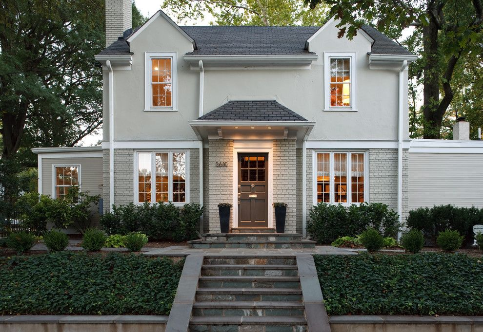 Gorgeous painted brick home renovations traditional White painted brick exterior