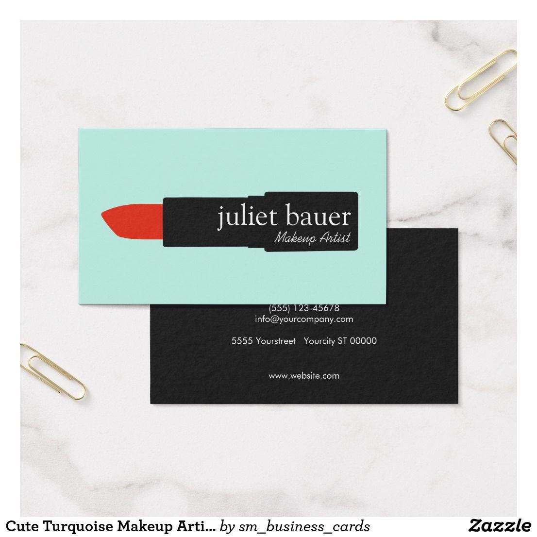Cute Turquoise Makeup Artist Lipstick Logo Beauty Business Card ...