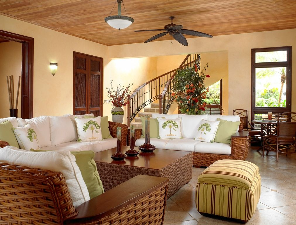 Tropical Living Room With Tommy Bahama Outdoor Living Ocean Club Pacifica Wicker Sofa Pendant Light Tropical Living Roomsluxury