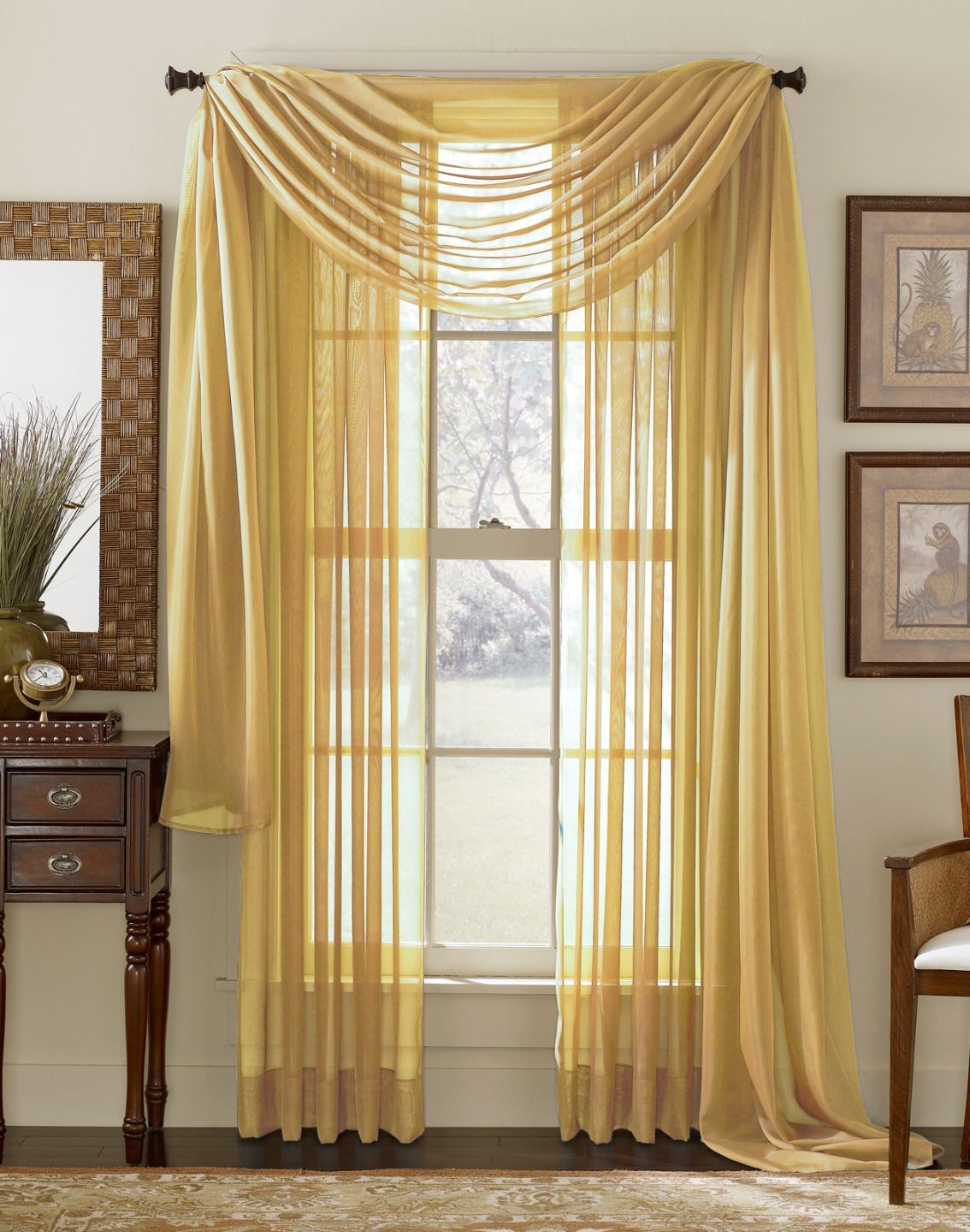 Sheer yellow curtains - Gold Sheer Curtain Scarf