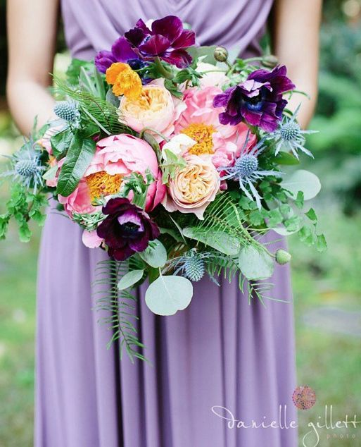 Breathtaking purple and pink wedding bouquet; Featured Photographer: Danielle Gillett Photography, Via Amy Burke Designs