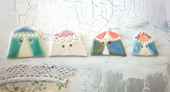 The Big Top A set of 4 Handmade Porcelain by hodgepodgearts