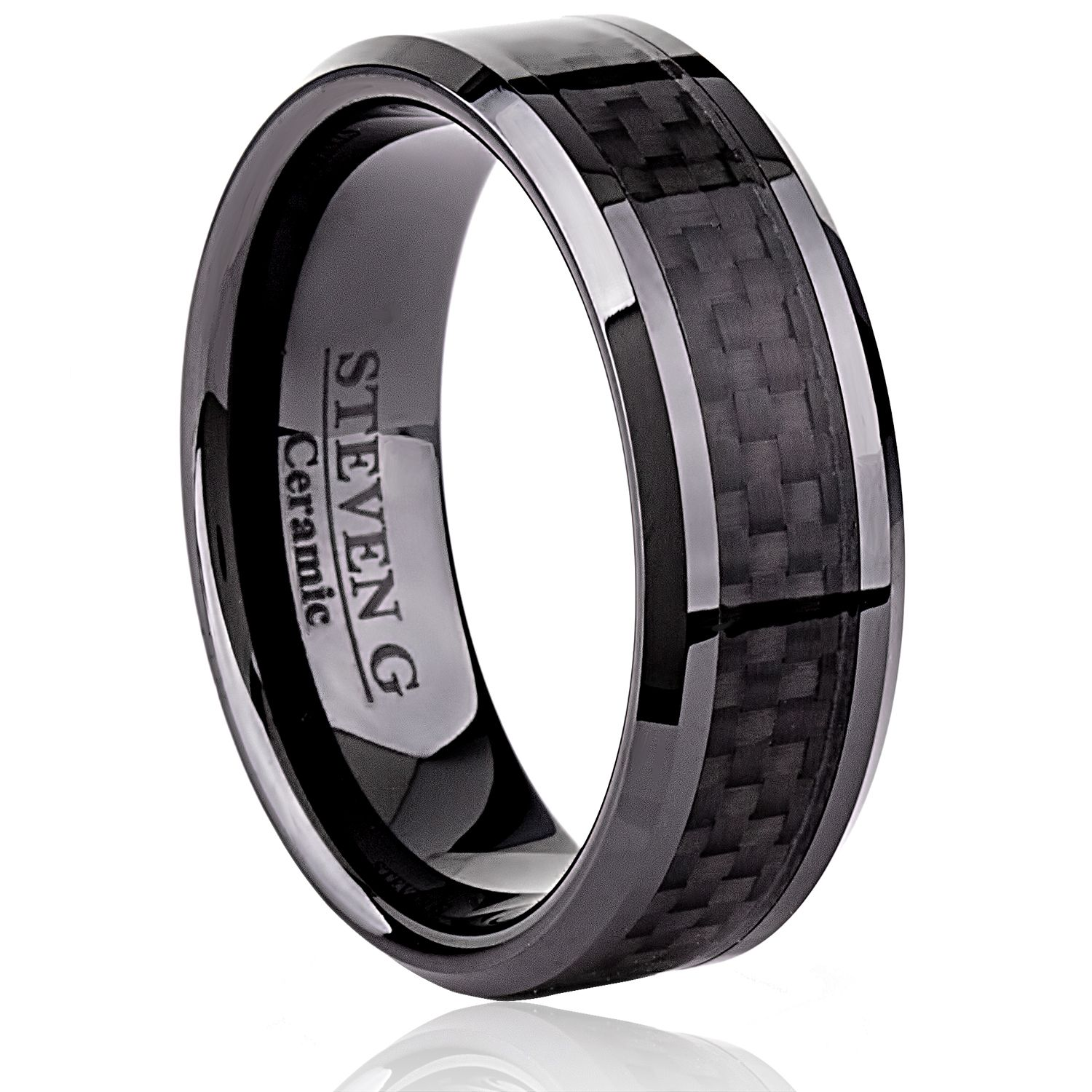 Ceramic Band Style Wedding Ring 8mm Wide Flat with Black