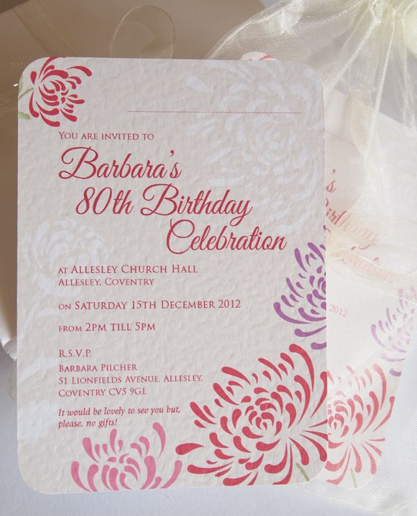 Personalised 80th Birthday Invitations Chrysanthemum Planning A Special Party We Can Supply Unique To Inspire Your