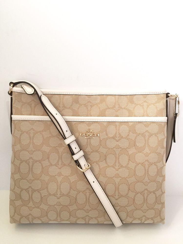 fe714b8e83 New Coach F58285 Signature File Bag Crossbody Handbag Light Khaki Chalk   195 NWT  Coach  MessengerCrossBody