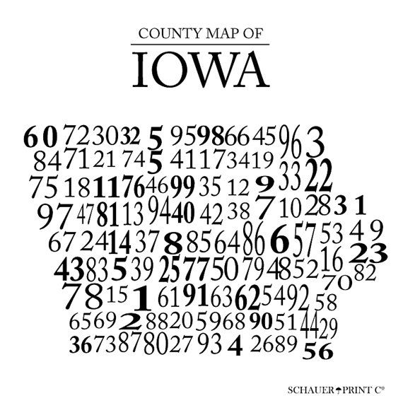 Iowa Numbered County Map--Remember when the license plates showed the county  number? In 5th grade we had to memorize th… | Iowa, County map, How to  memorize things