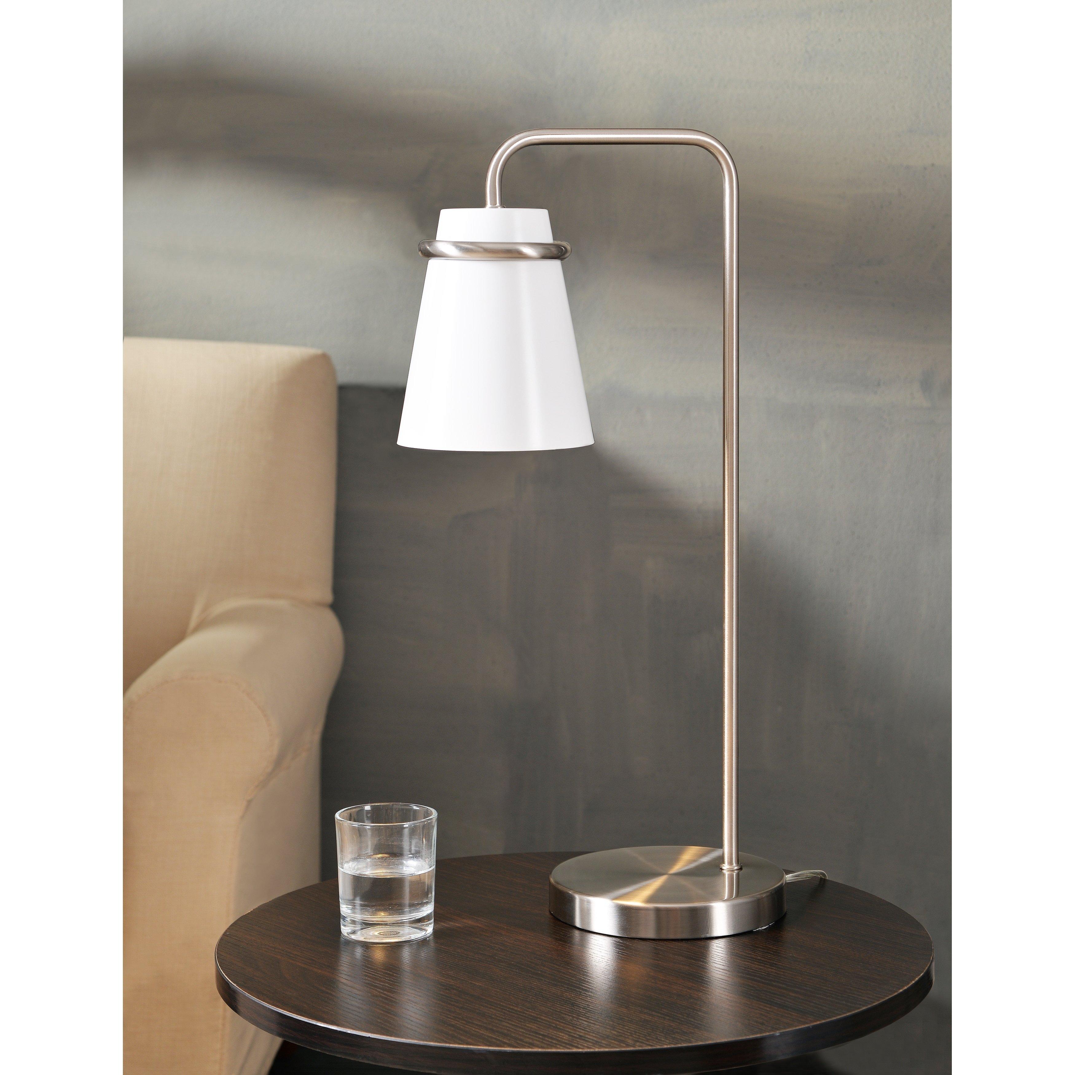 Carrington White And Brushed Steel 23 Inch Desk Lamp Gray Design Craft Desk Lamp Metal Desk Lamps Steel Desk