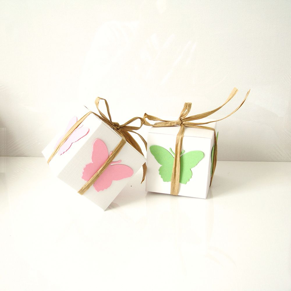 cupcake boxes with coloured Butterfly and natural coloured raffia ...