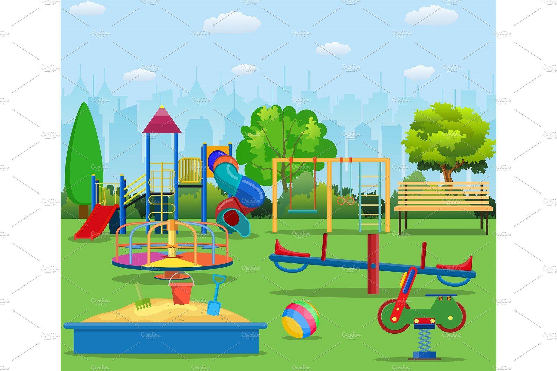 Kids Playground Cartoon Concept Background Kids Playground Kids Playground