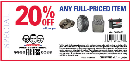 Pepboys Promo Code >> 20 Off A Single Item At Pep Boys Auto Or Online Via Promo Code