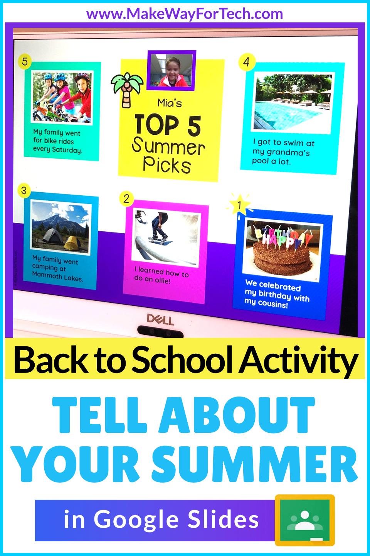 Back To School Activities For Elementary All About Me Google Classroom Activity Sum School Activities Back To School Activities Google Classroom Activities