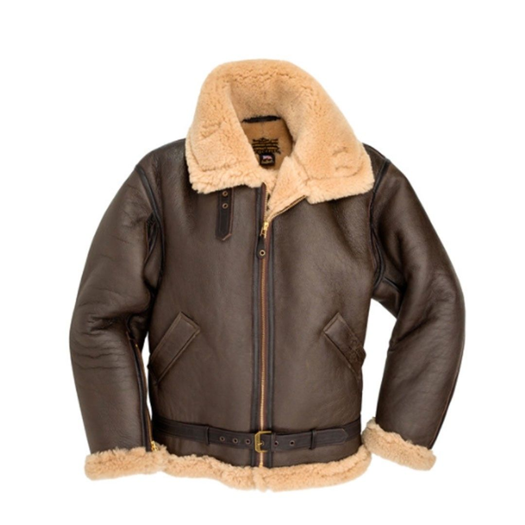 B3 RAF Hood Real Leather Artificial Fur Khaki Men/'s Fashion Flying Bomber Jacket