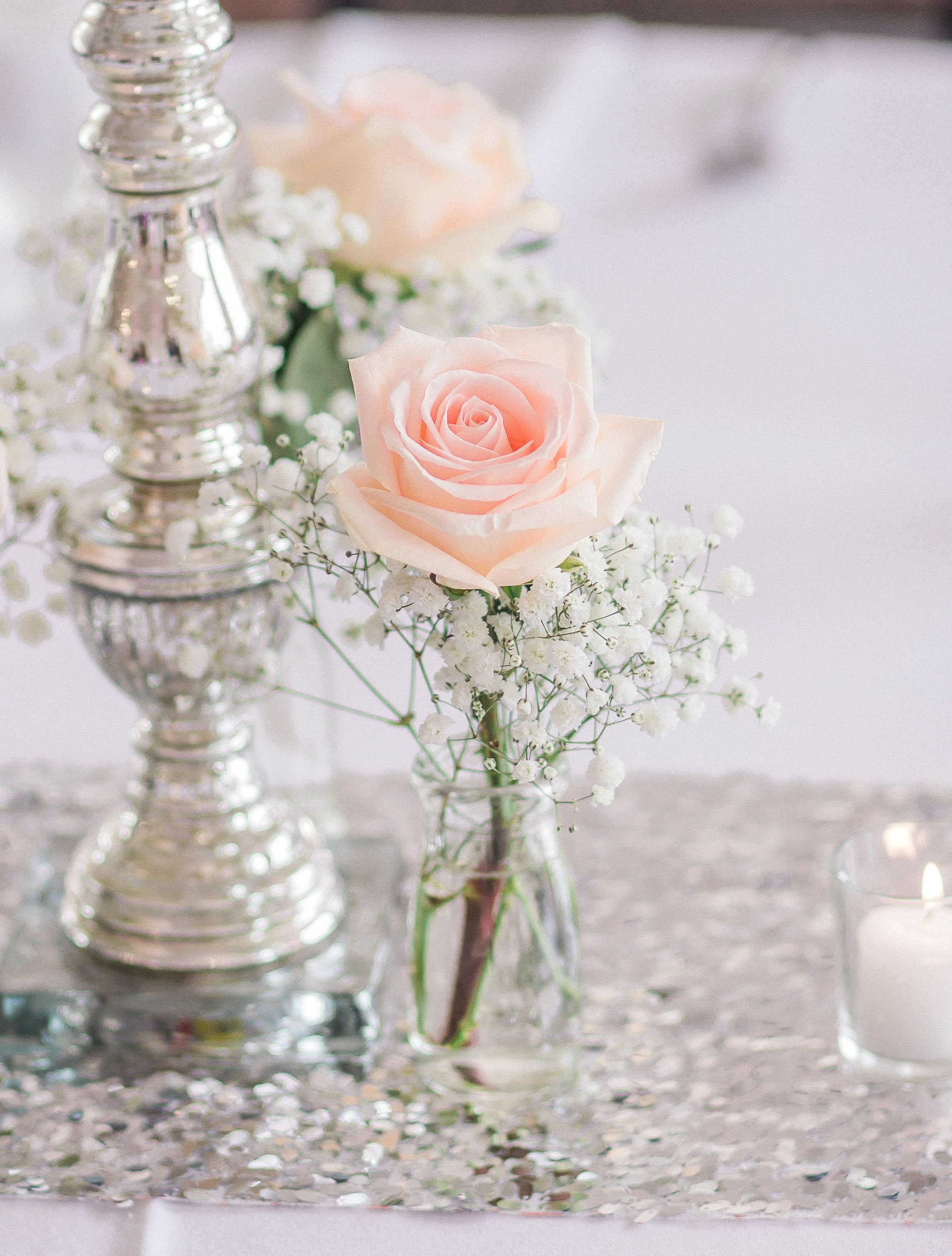 Blush Rose and Baby\'s Breath Centerpiece | reception ideas ...