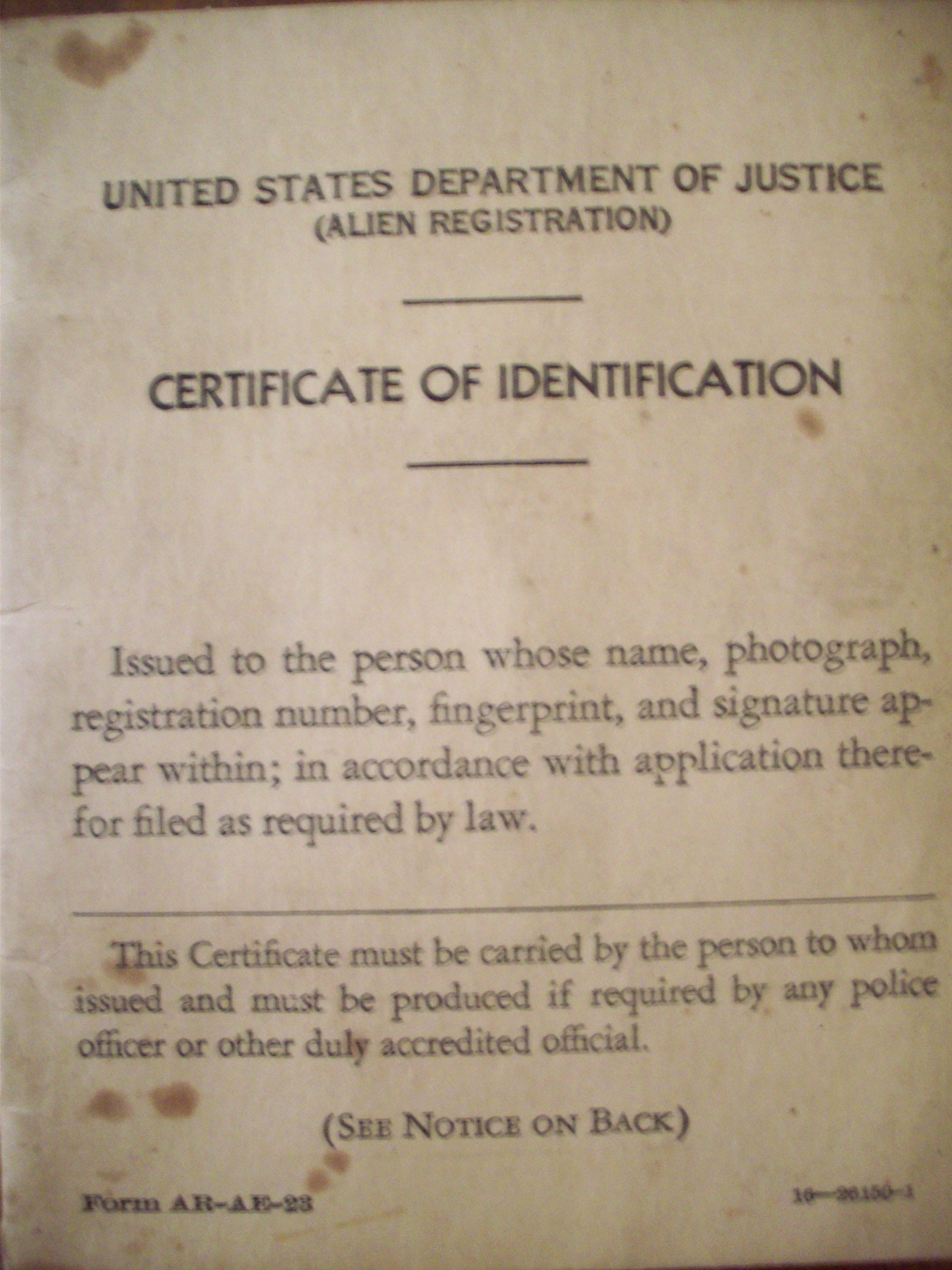 Wwii Alien Registration Id Of Louise Dembosky Ancestrycontest My