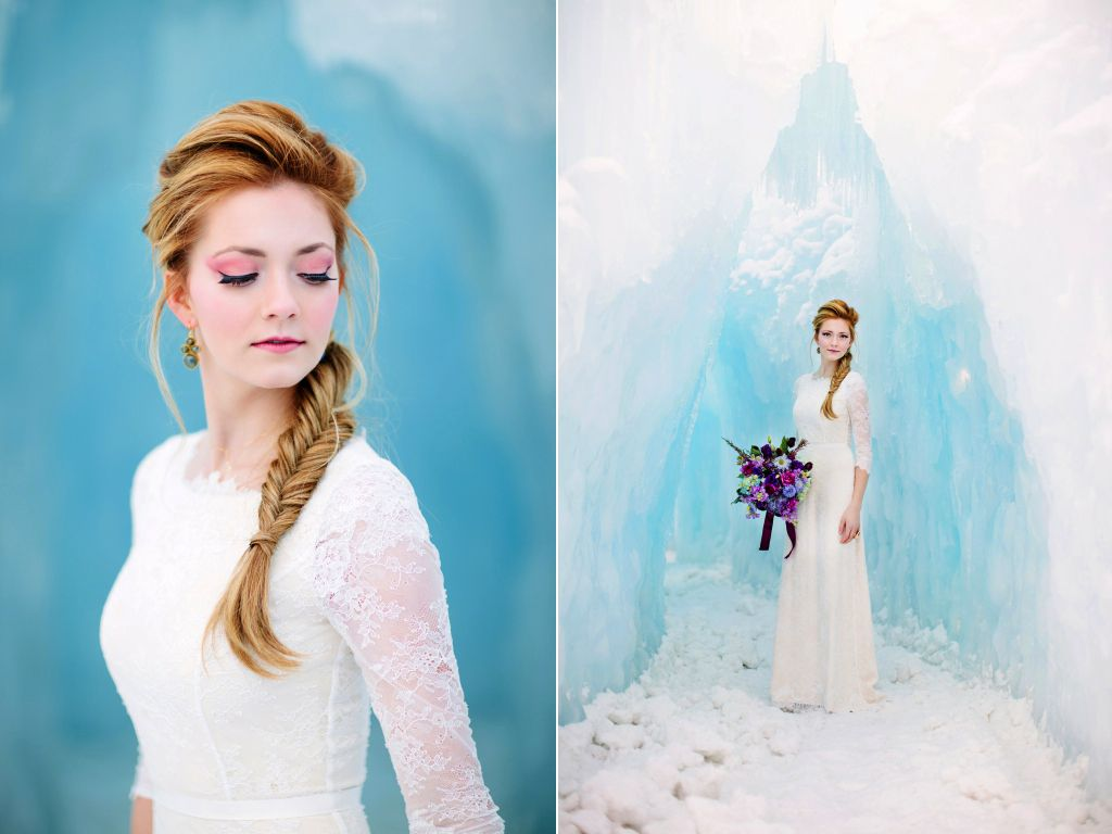 Disney\'s Frozen Inspired Wedding Shoot midway ice castles calie rose ...