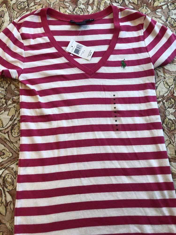 7ced82d4f6bea7 RALPH LAUREN SPORT PINK WHITE SHORT SLEEVE V-NECK SHIRT WOMENS SIZE MEDUIM  #fashion #clothing #shoes #accessories #womensclothing #tops #ad (ebay link)