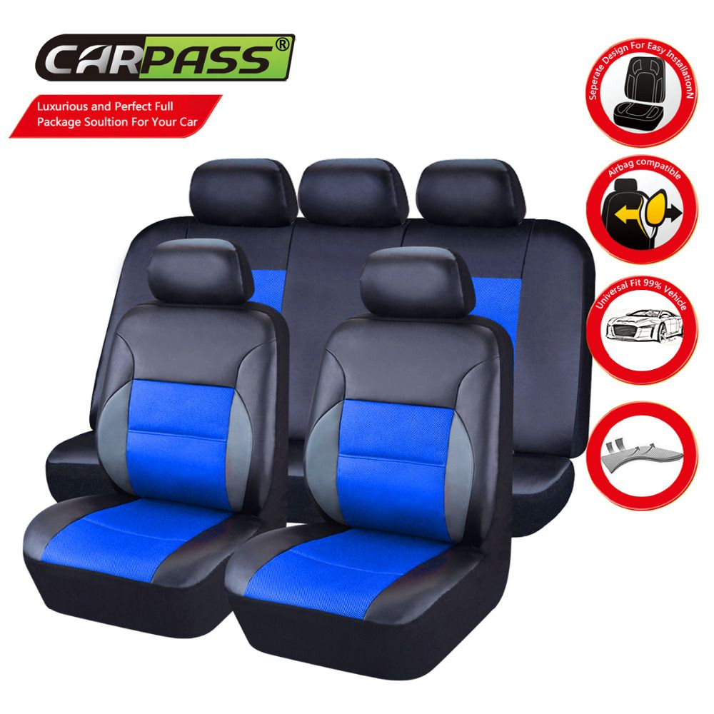 Car Pass PU Leather Automotive Universal Seat Covers T Shit Fit Cover Accessories For Kia Aio Ford Focus 2 Lada Gran