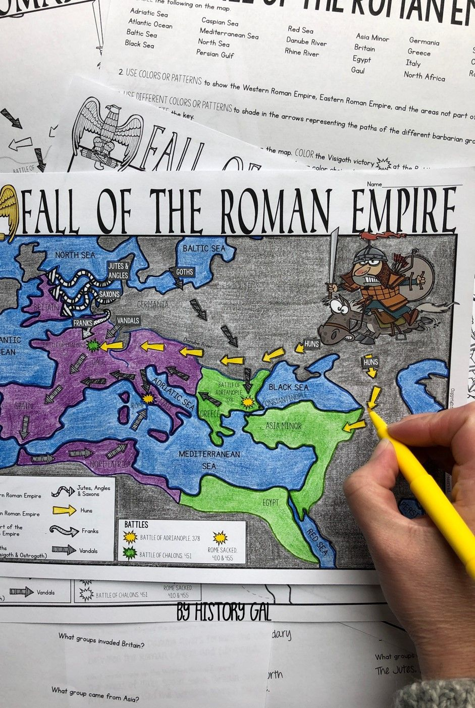 Fall of Rome Map Activity | Map activities, Roman empire map ...