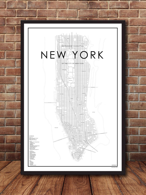 Map Of Manhattan New York New York City Map New York Print Map - Nyc map to print