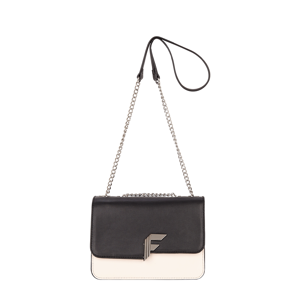 *Fiorelli branded hardware/Hero F                                                       * Chain shoulder strap with eyelets detail                                                 *Single compartment with flap and mag dot closure                                                                                           *Concealed slip pockets either side of main compartment                                                                              *Fully lined with Fiorelli branded fabric…