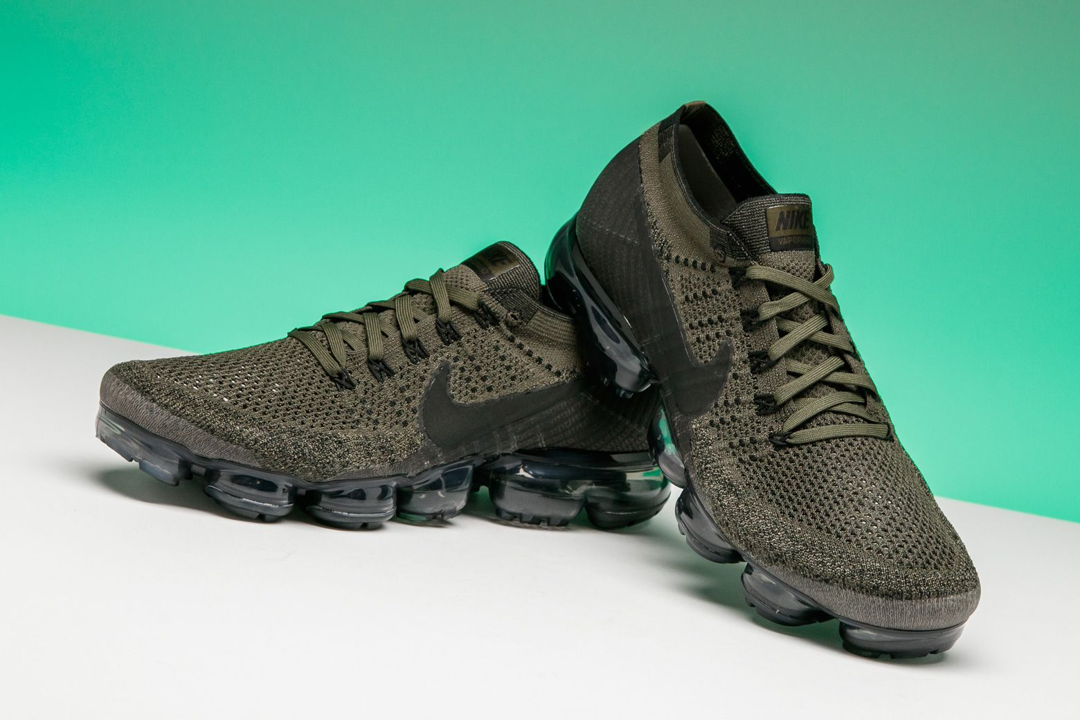 04f5ad9f8b9 The Nike Air VaporMax shines in this army fatigue-like Cargo Khaki colorway.