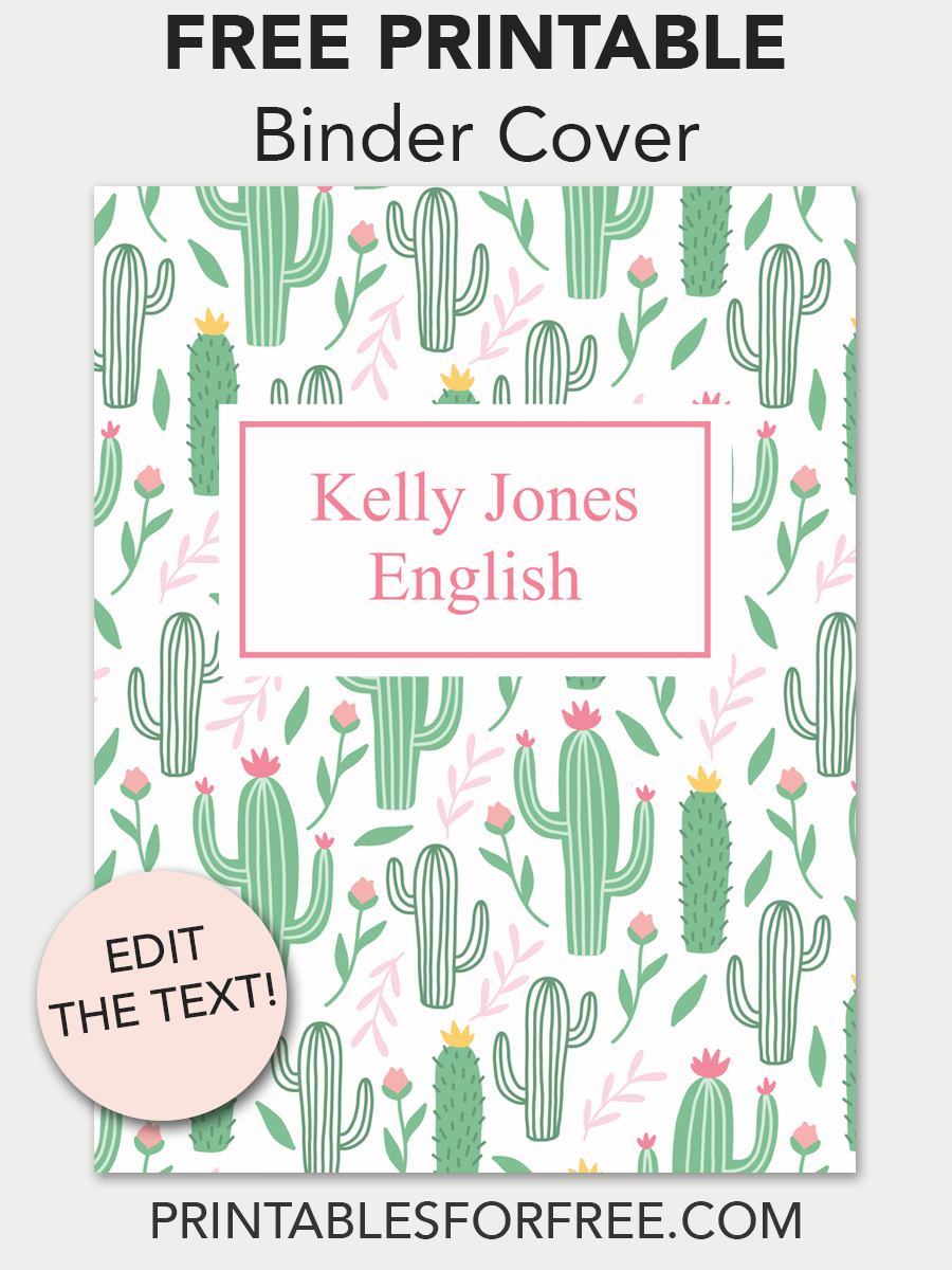 image about Binder Cover Printable referred to as Cactus Printable Binder Deal with Higher education Printable binder