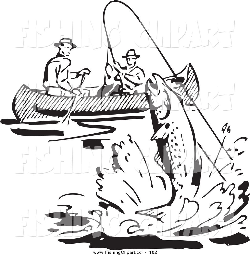 Clip Art Of A Retro Black And White Men Fishing In A Boat