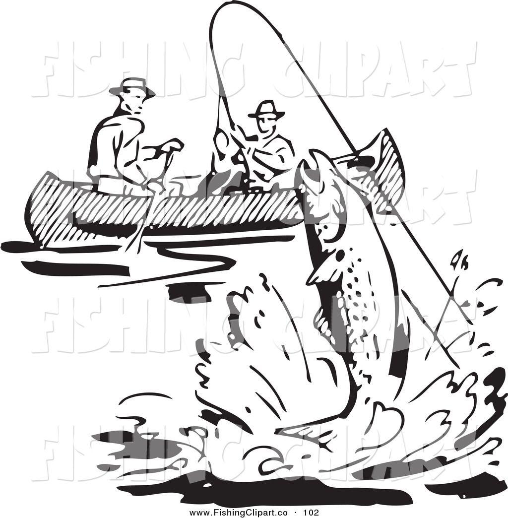 Clip Art Of A Retro Black And White Men Fishing In A Boat A Fish Retro Artwork Fish Drawings Fish Art