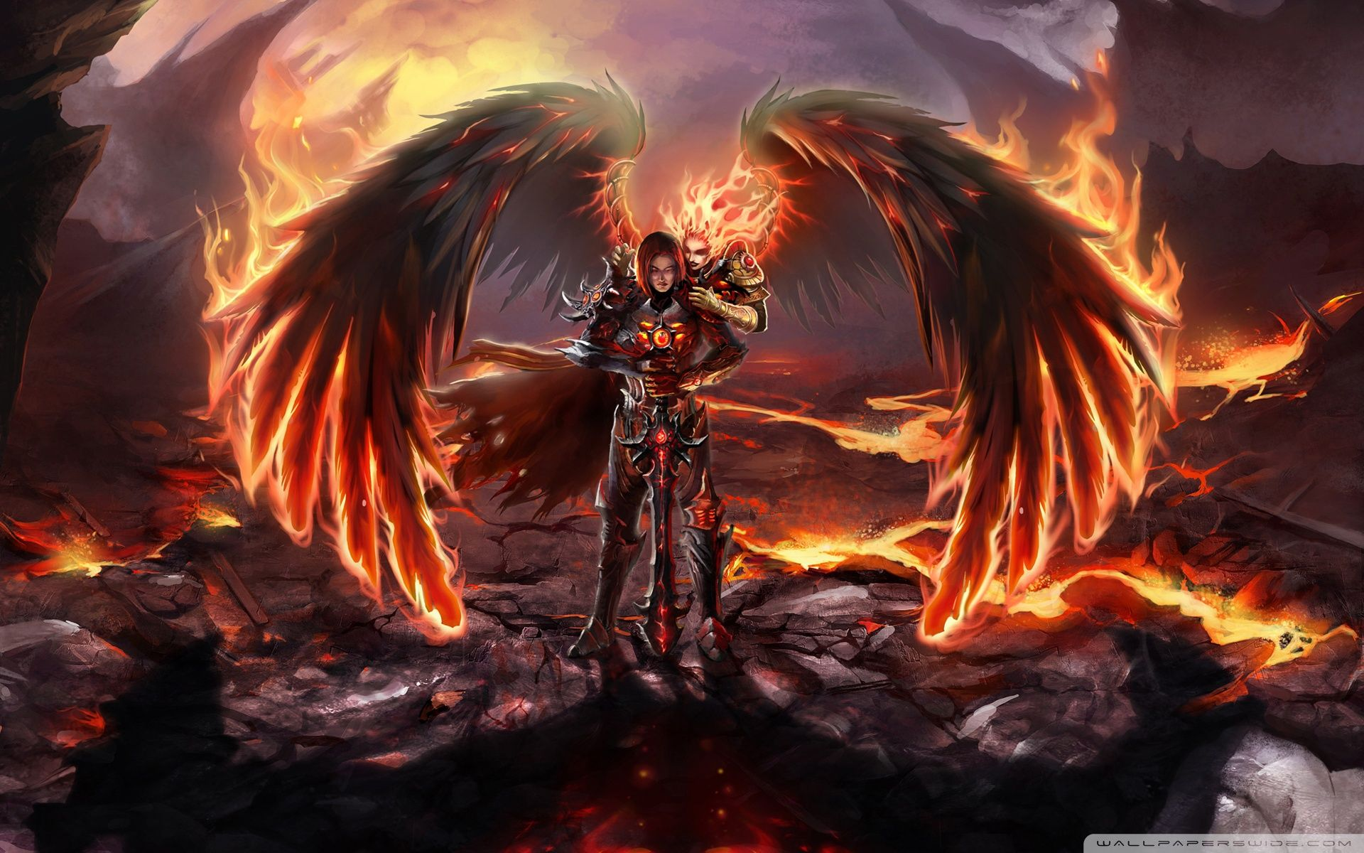 Female Evil Demon Inferno Action Adventure Angel Cg Dark