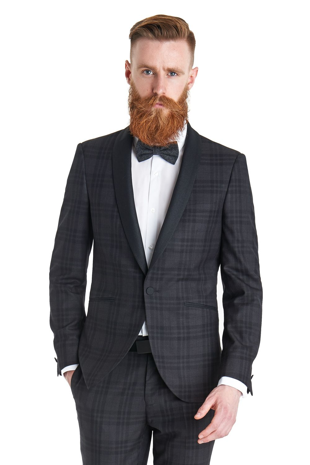 This Ventuno 21 slim fit grey check dress suit is single breasted ...
