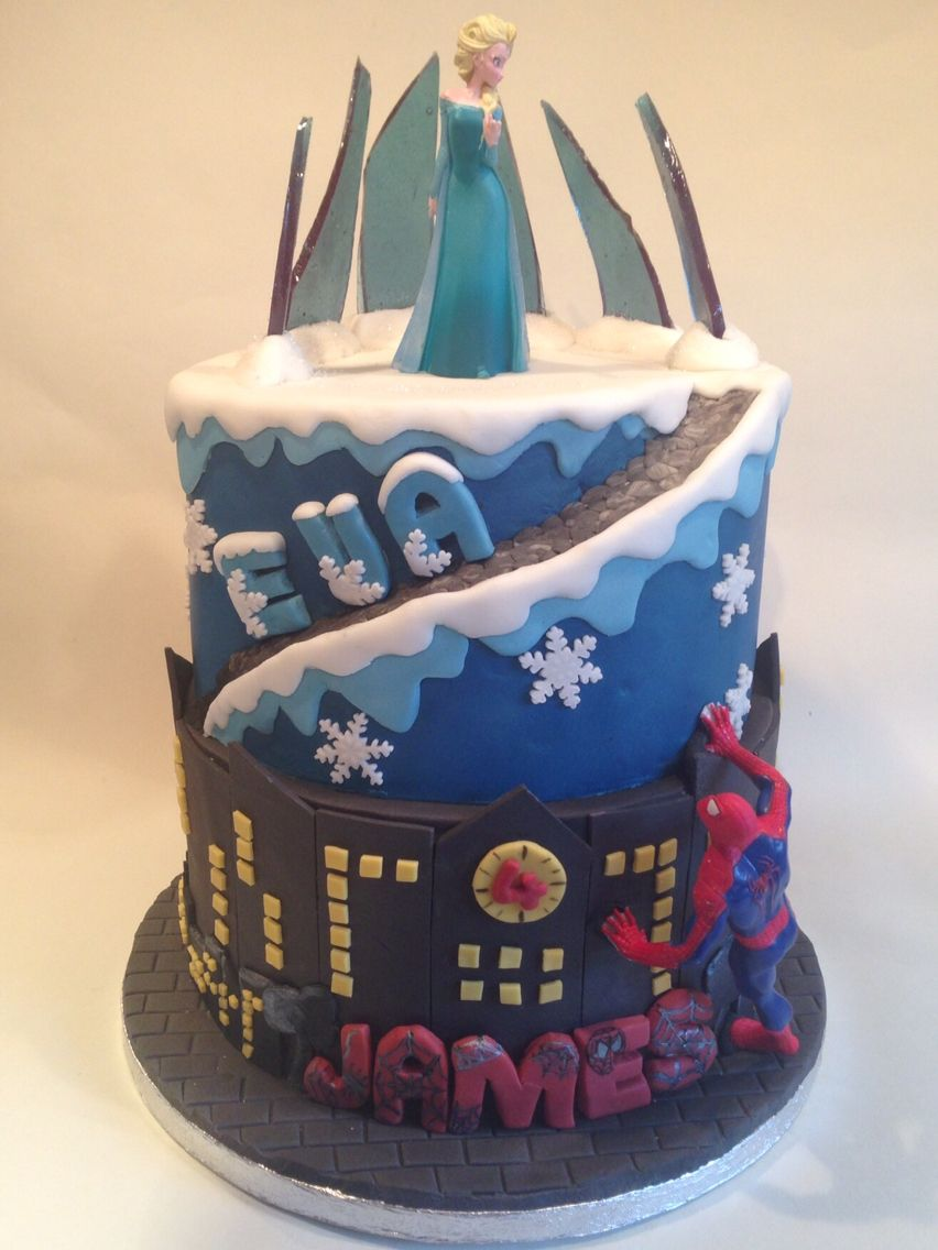 Frozen S Elsa Meets Spiderman For A Joint Birthday Cake