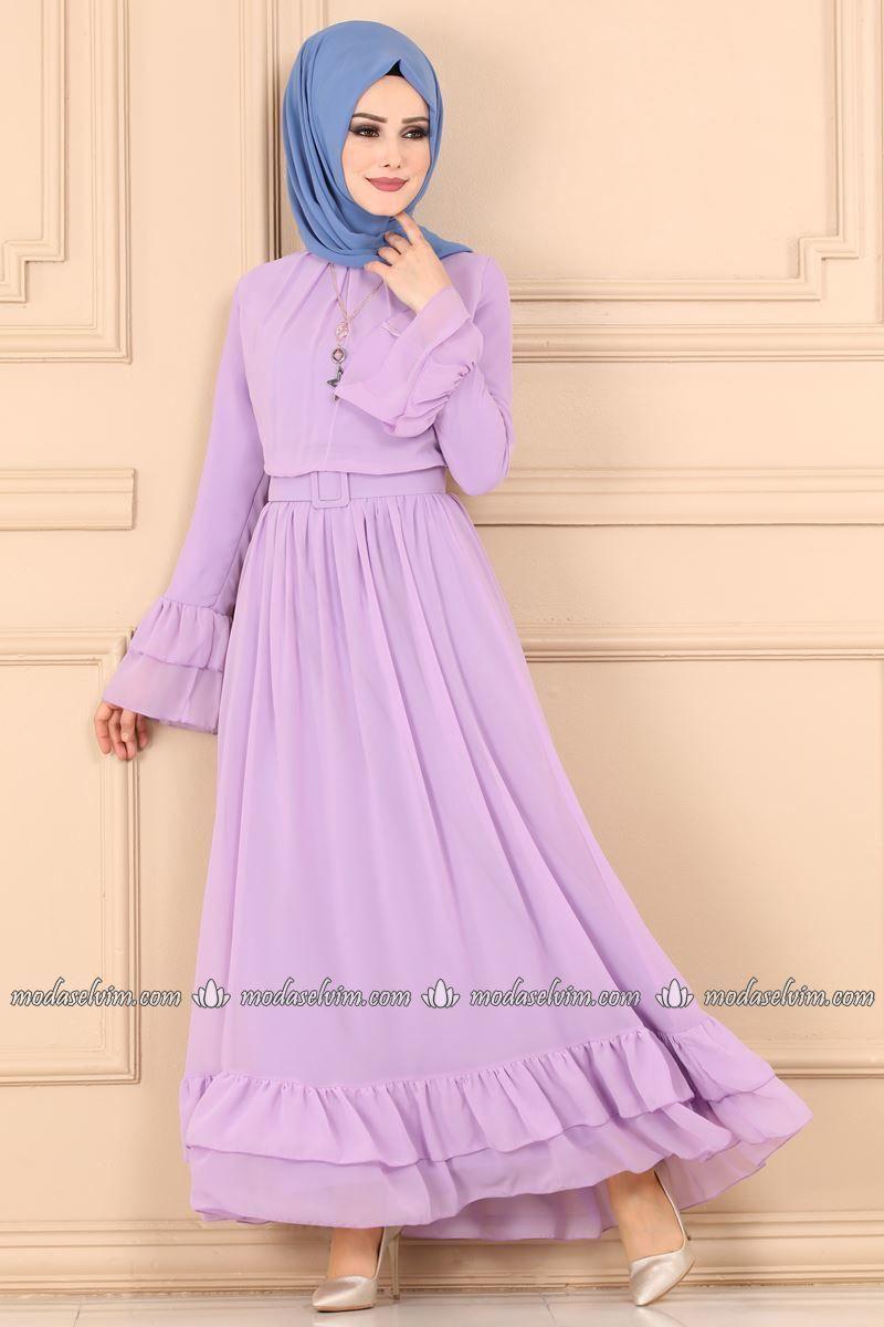Firfirli Sifon Elbise 2062ab368 Lila Moda Selvim Sifon Elbise Elbise The Dress