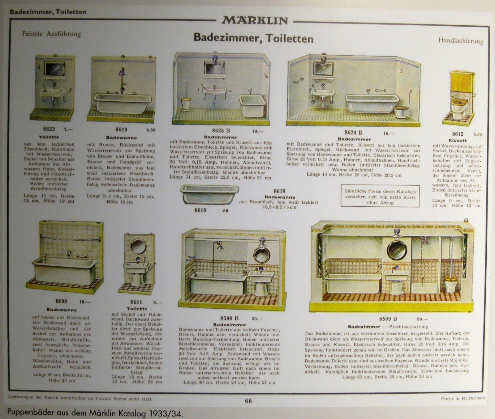 1933 Marklin Catalog Showing Doll Bathrooms Badezimmer Badewanne Toiletten