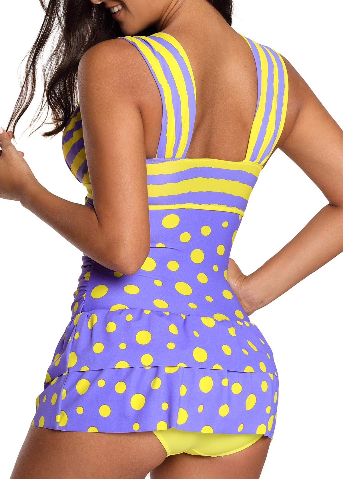 e25962a673 Padded Printed Wide Strap Swimdress and Panty | Rosewe.com - USD $31.75