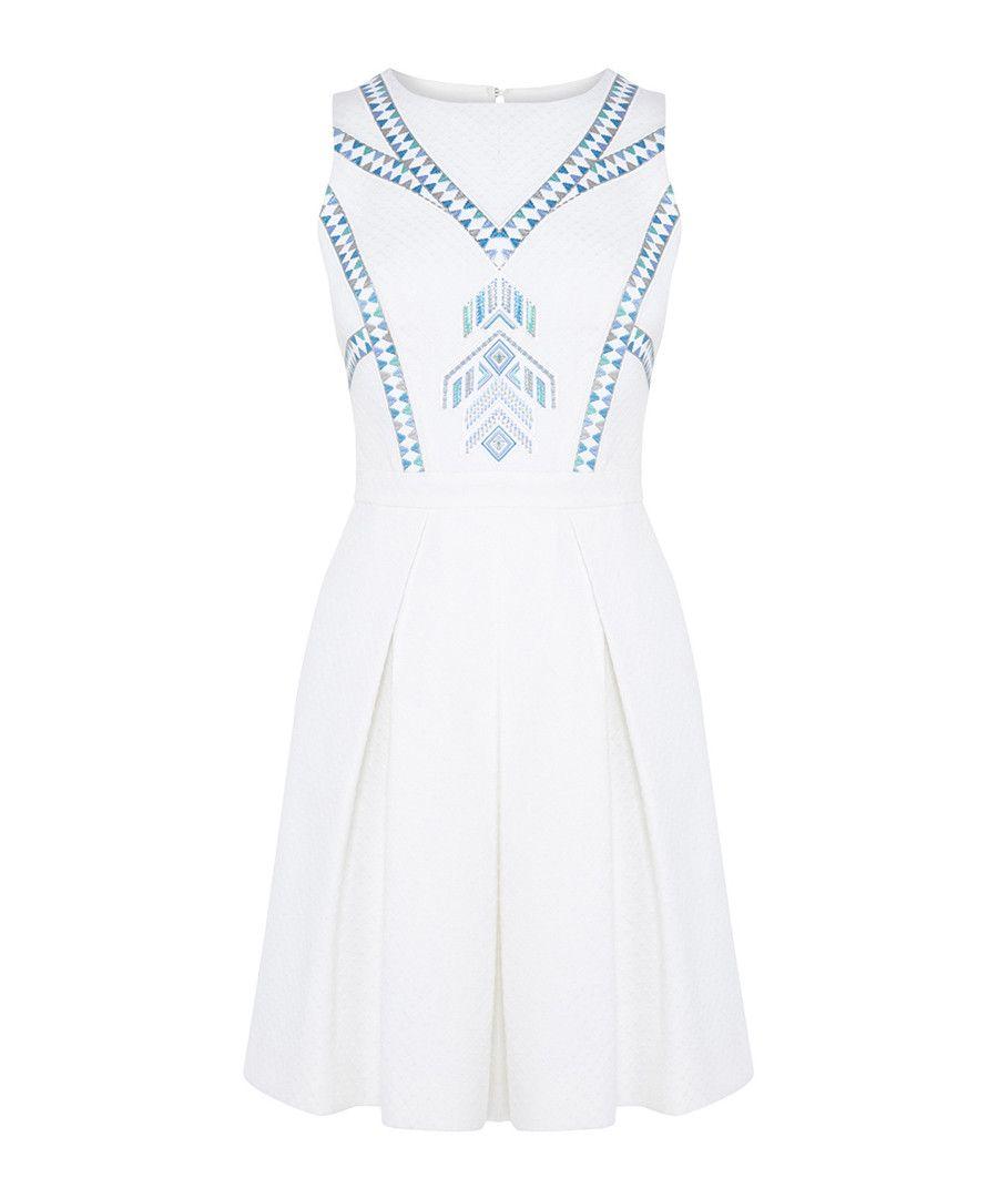 81098ce2b3a Karen Millen White neon embroidery cotton dress