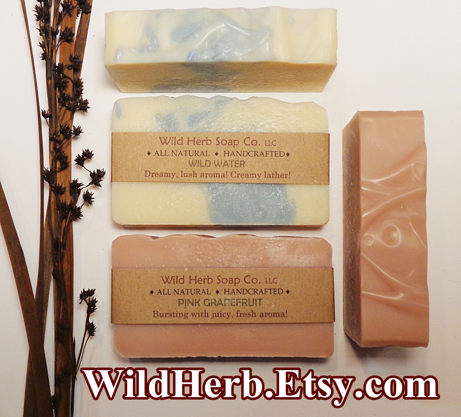 NEW SCENTS from Wild Herb Soap Co. Our 2 new scents will create a splash in your life! Yes, it's our usual base formula featuring exotic Mango Butter, Palm Kernel, Rice Bran & Olive oils. Plus pure essential oils for the scent! Wild Water & Pink Grapefruit await your verdict......let us know what you think!