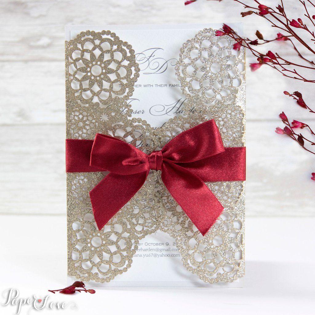 Beautiful Gatefold Personalised Gold Glitter Day Evening Wedding ...