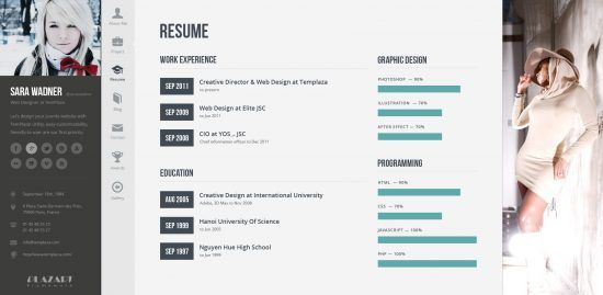 Wordpress Resume Theme 20 Best WordPress Resumes & Vcard Themes For Your Online Cv Http .